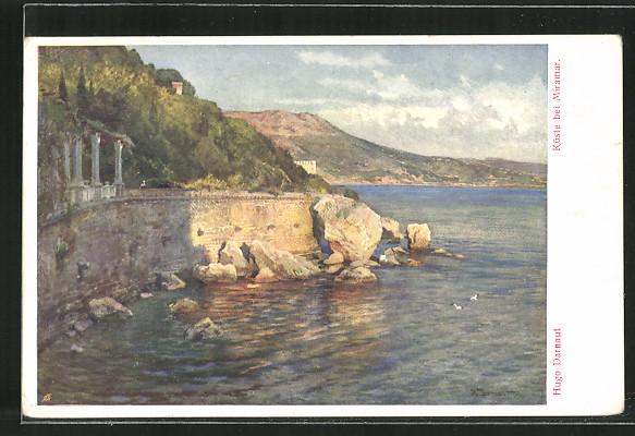 Künstler-AK Hugo Darnaut: Miramar, Blick zur Küste