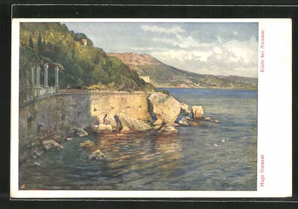 Künstler-AK Hugo Darnaut: Miramar, Abschnitt der Küste