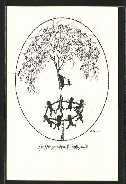 Künstler-AK Elsbeth Forck: Frühlingsfrohen Pfingstgruss!, Feen tanzen um Birke