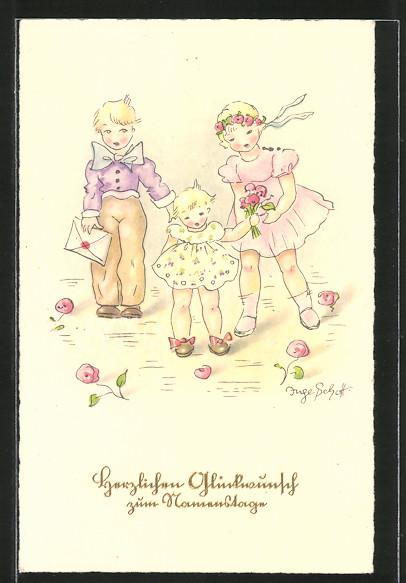 Künstler-AK Inge Schott: Herzlichen Glückwunsch zum Namenstage, Kinder mit Geschenken