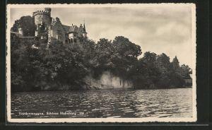 AK Vordermeggen, Wasserblick zum Schloss Habsburg