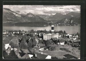 AK Meggen, Pius-Kirche mit See & Bergen