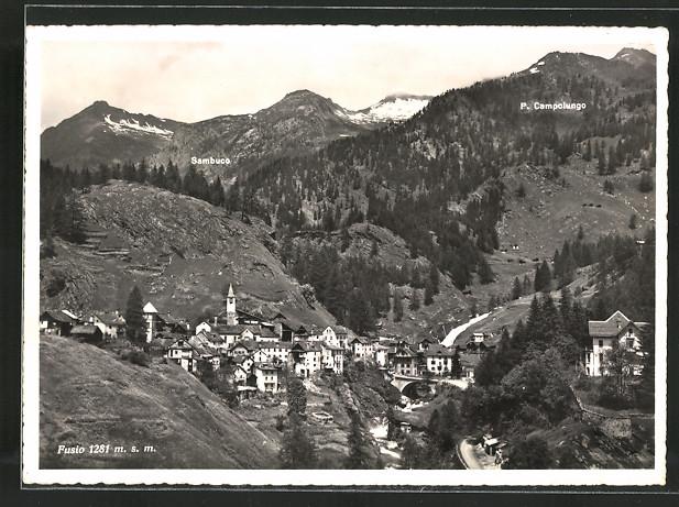 AK Fusio, Ortsansicht im Bergtal mit P. Campolungo