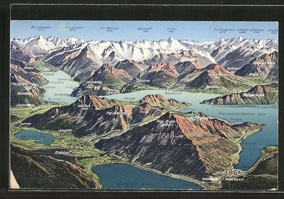 AK Goldau, Luftaufnahme der Stadt mit Rigi-Gebirge