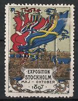 Reklamemarke Stockholm, Exposition 1897, Ausstellungsgelände mit Fahnen von Schweden, Norwegen & Dänemark