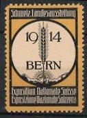 Reklamemarke Bern, Schweizer Landesausstellung 1914, Getreide & Gebirgspanorama