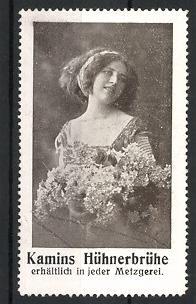 Reklamemarke Kamins Hühnerbrühe, hübsches Mädchen mit Blumenstrauss