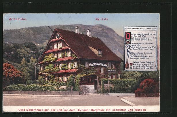 AK Arth-Goldau, Altes Bauernhaus (Gasthaus) aus der Zeit vor dem Bergsturz