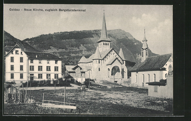 AK Goldau, Neue Kirche, zugleich Bergsturzdenkmal