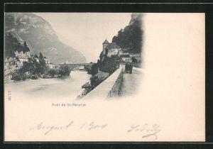 AK St-Maurice, Le pont, Pferdegespann