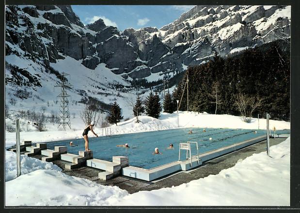 AK Leukerbad / Loèche les Bains, Schwimmbad im Winter
