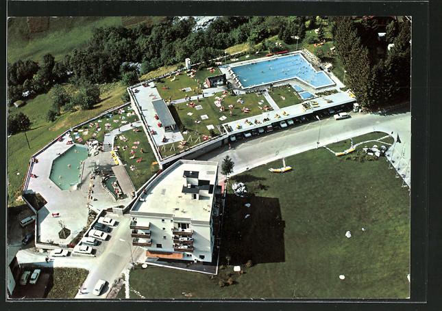 AK Leukerbad / Loèche les Bains, Gehbad, Fussbad, Schwimmbad, Luftbild