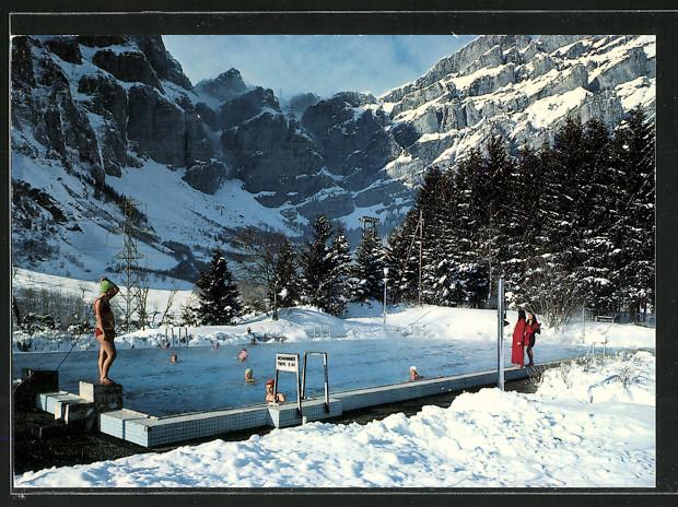 AK Leukerbad / Loèche les Bains, Thermal-Schwimmbad am Gemmipass