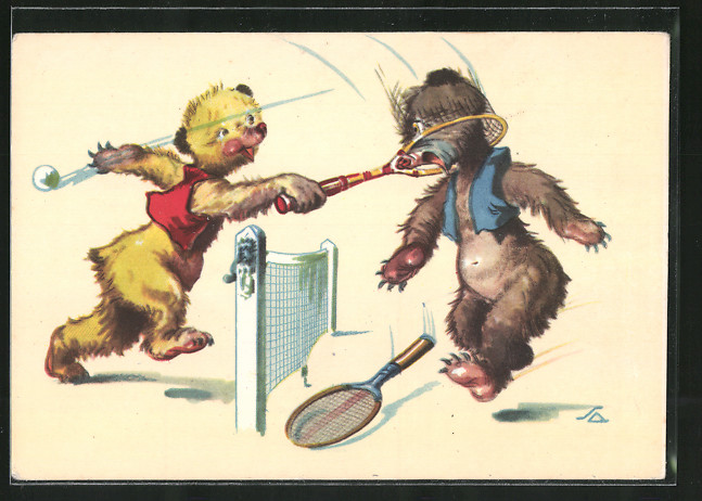 Künstler-AK Bärenkinder spielen Tennis