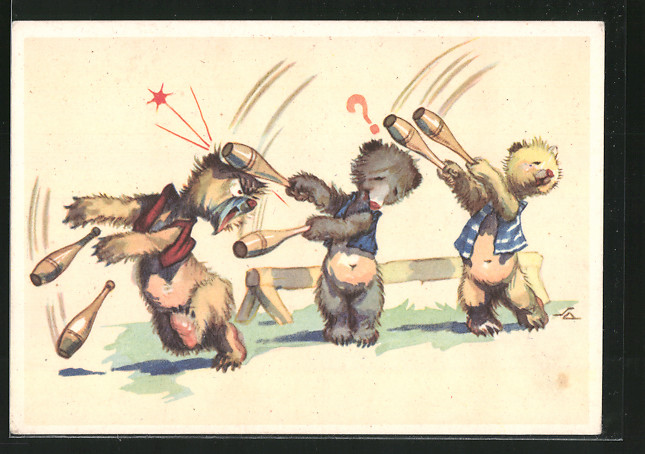 AK tollpatschige Bärenkinder turnen mit Keulen