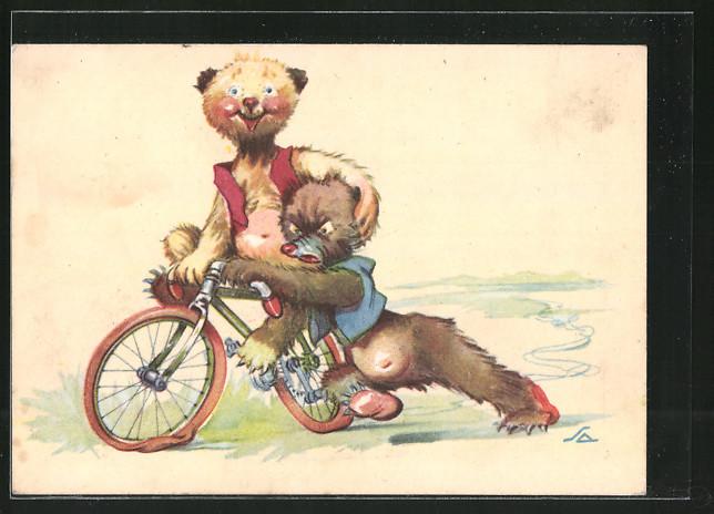 Künstler-AK Barenkinder beim Fahrradfahren