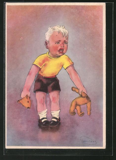 Künstler-AK Swildens: Weinender Junge mit zerissenem Teddy