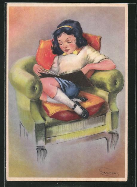 Künstler-AK Swildens: Lesendes Mädchen sitzt im Sessel