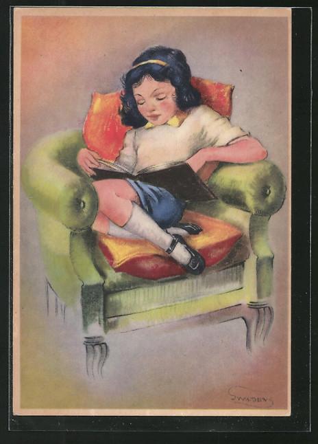 Künstler-AK Swildens: Mädchen liest ein Buch im Sessel