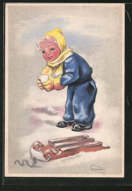 Künstler-AK Swildens: Junge mit Schlitten baut Schneebälle