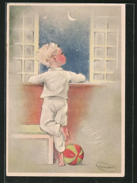 Künstler-AK Swildens: Junge bei Mondschein im Schlafanzug am Fenster