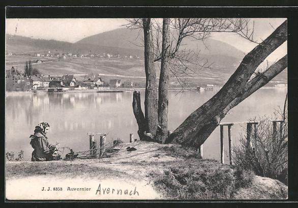 AK Auvernier, Blick zum Ort