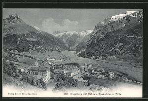 AK Engelberg, Blick auf den Ort und Berge