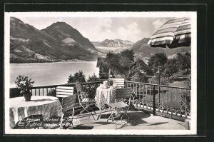 AK Sarnen, Hotel-Pension Wilerbad, Ausblick von der Terrasse