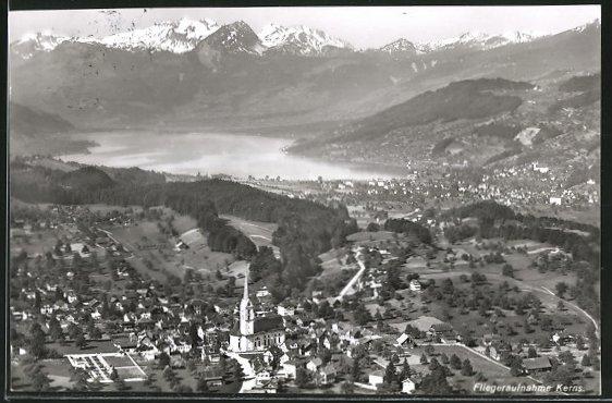 AK Kerns, Fliegeraufnahme mit Ort, See und Alpen