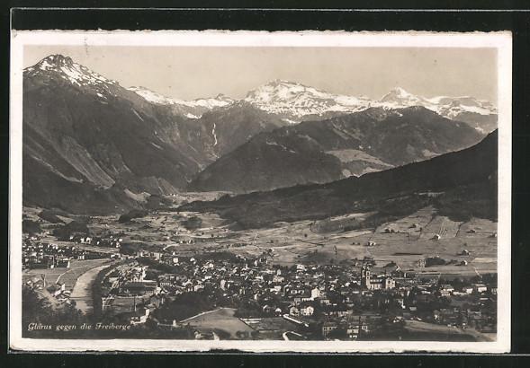 AK Glarus, Blick über die Stadt auf die Freiberge