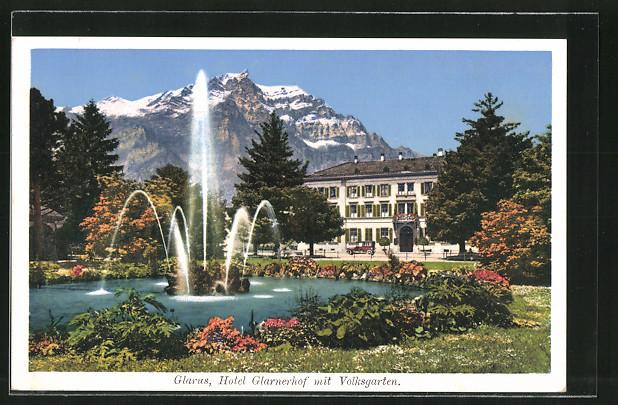 AK Glarus, Hotel Glarnerhof mit Volksgarten