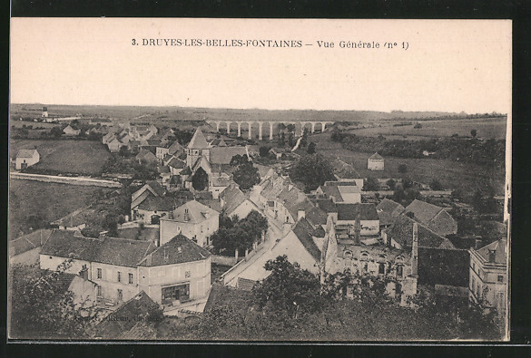 AK Druyes-les-Belles-Fontaines, vue générale