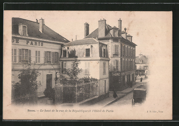 AK Sens, le haut de la rue de la République et l'hôtel de Paris