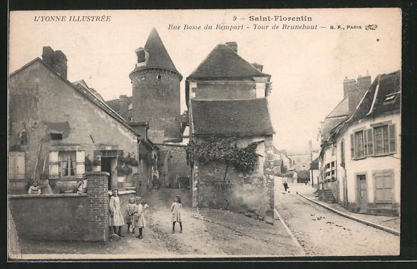 AK Saint-Florentin, rue Basse du Rempart, tour de Brunehaut, Kinder auf Strasse