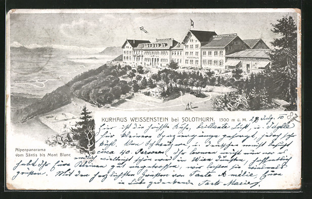 AK Weissenstein, Kurhaus Weissenstein mit Alpenpanorama vom Säntis bis Mont Blanc