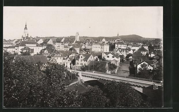 AK Frauenfeld, Teilansicht mit Strassenbrücke