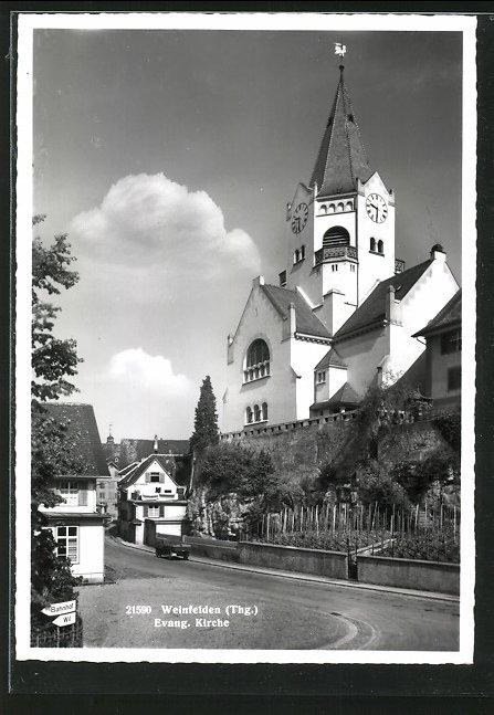 AK Weinfelden, Strasse an der ev. Kirche