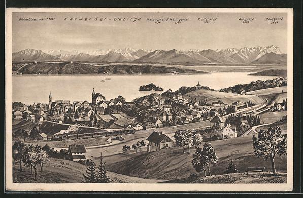 AK Feldafing, Panoramablick mit Starnberger See und Alpen, Karwendel-Gebirge