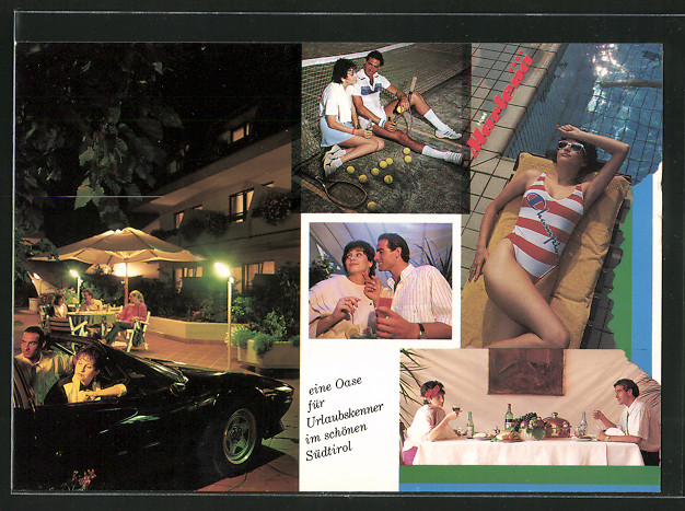 AK Marling, Hotel Marlena mit Abendpartie, Tennis & Swimming-Pool