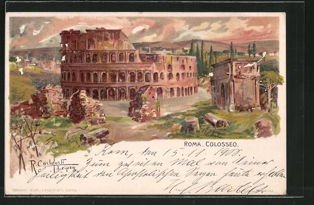 Künstler-AK Raffaele Carloforti: Rom, Sicht auf das Colosseum