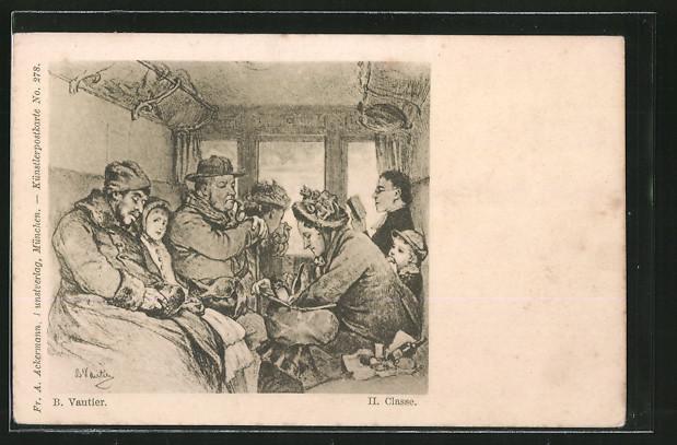 Künstler-AK B. Vautier: Eisenbahnabteil II. Klasse