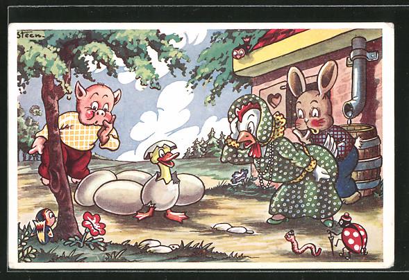 Künstler-AK Steen: Hühnerdame wunder sich über Entlein
