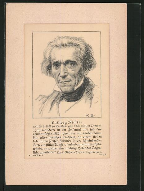 Künstler-AK Ludwig Richter: Porträt des Malers