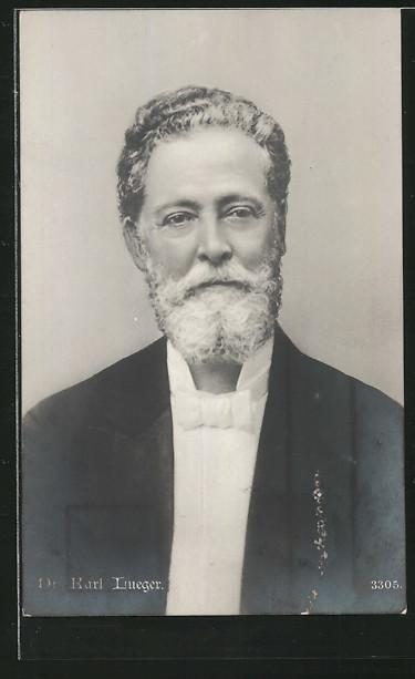AK Bürgermeister Carl Lueger im schwarzen Anzug