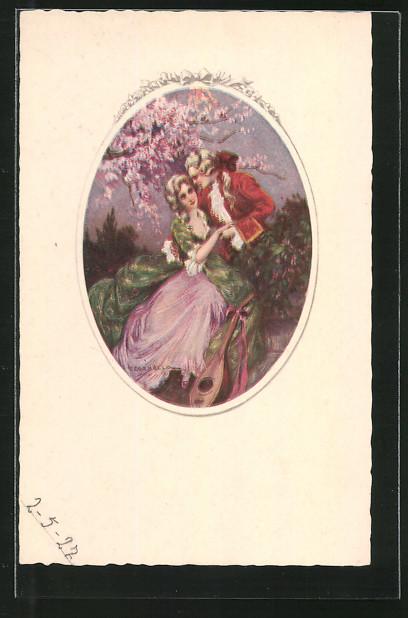 Künstler-AK Tito Corbella: Liebespaar unter einem Kirschbaum