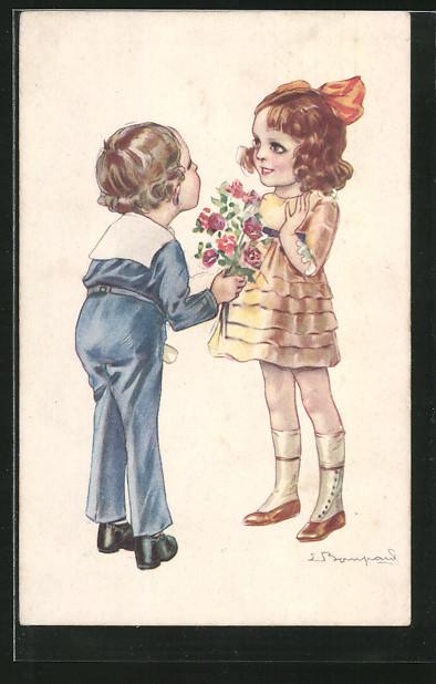 Künstler-AK Sergio Bompard: Knabe schenkt einem Mädchen Blumen