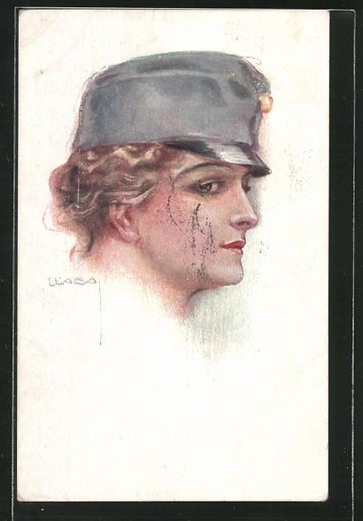 Künstler-AK Luis Usabal: Porträt einer jungen Frau mit Militärmütze