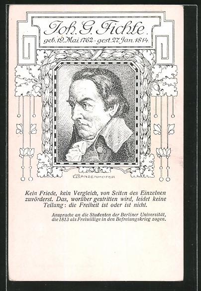 Künstler-AK Portrait Johann Gottlieb Fichte, Philosoph