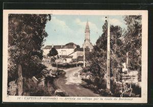 AK Captieux, arrivée au village par la route de Bordeaux