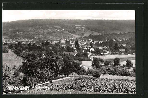 AK Untersteinbach, Ortsansicht von einem Hügel aus